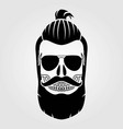hipster skull with mustache and bread vector image