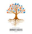 international human rights people hands tree vector image vector image