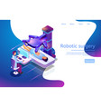 isometric banner robotic surgery 3d vector image