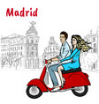 man and woman driving scooter vector image vector image