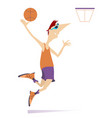 man plays basketball isolated vector image