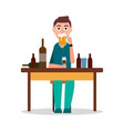 man sitting by table with lot of alcohol drinks vector image