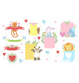 message template set with cute animals vector image