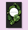 monstera frame with green tropical leaves vector image vector image