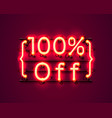 neon frame 100 off text banner night sign board vector image vector image