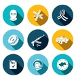 Opposition flat icon set vector image