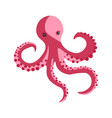pink octopus with long tentacles and round suckers vector image
