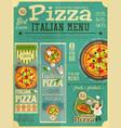 pizza italian menu vector image vector image