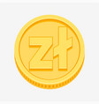polish zloty symbol on gold coin vector image vector image