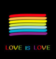 rainbow flag love is love text quote lgbt gay vector image vector image