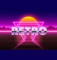 retro neon city background neon style 80s vector image
