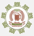 round beer banner with hops and beer label vector image vector image