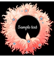 round frame with pink feathers and text vector image