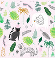 seamless childish jungle pattern with leopard vector image vector image