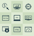 seo icons set with html code pay per click vector image