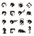 set of horse icons vector image
