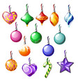 sketch with christmas tree decorations isolated on vector image vector image