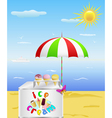 tray with cold ice cream is on the beach in the ho vector image vector image