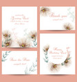 watercolor flowers blossom card set vector image