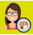 woman store market icon vector image