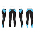 womens leggings template four sided view vector image vector image