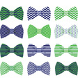 Cute Navy and Green Bow Tie Collection vector image