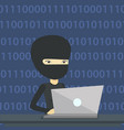 hacker using laptop to steal information vector image