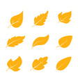 set of monochrome icons with leaves vector image
