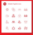 16 together icons vector image vector image