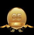 95th golden anniversary birthday seal icon vector image vector image