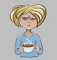 angry girl with coffee unhappy character vector image