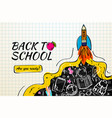 back to school with rocket and doodles on vector image vector image