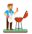 barbecue man cook grill meat bbq isolated flat vector image vector image