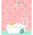 bathtub with foam soap bubbles rubber duck on vector image