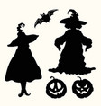 black silhouette witches pumpkin lanterns and bat vector image vector image