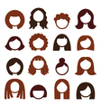 Brunette hair styles wigs icons set - women vector image vector image