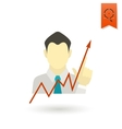 Business Graph with Hand Pointing Up vector image vector image