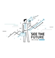Businessman with megaphone looking to the future vector image