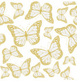 butterfly seamless gold vector image