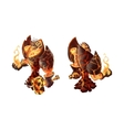 Cartoon fire golem game character on white vector image vector image
