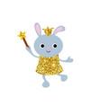 cartoon rabbit with dust glitters cartoon rabbit vector image vector image