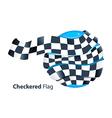 Checkered flag around blue globe vector image vector image