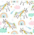childish seamless pattern with creative unocorns vector image
