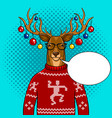 christmas deer with toys pop art vector image vector image
