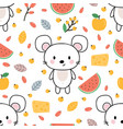 cute seamless pattern with little mouse cheese vector image vector image