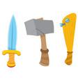 Dagger hammer and baseball bat cartoon drawing vector image