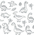 dinosaur outline seamless pattern cute baby dino vector image