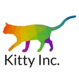 Elegant Multicolored Cat Logo Template vector image vector image
