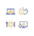food smile and online delivery icons set seo vector image vector image