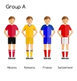 Football team players Group A - Albania Romania vector image vector image